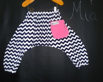 Harem PANTS - Riley Blake - Jersey Knit - Chevron - Pick the size Newborn to 12 Years by Boutique Mia