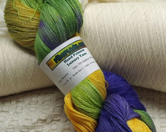Hand painted Mousoucot Bamboo/Cotton yarn, 4 oz, Summer Day