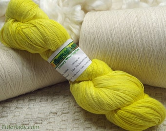 Hand painted Mousoucot Bamboo/Cotton yarn, 4 oz, Yellow