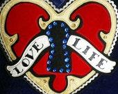 Plush Velour Decorative Pillow with Love Life Heart Lock Applique