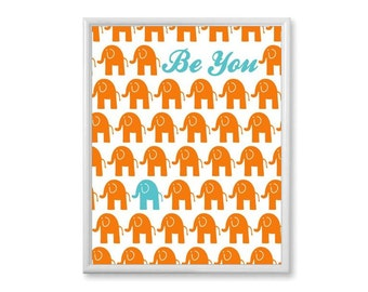 Elephant Nursery Art, Teal Orange Baby Wall Art, Baby Boy Nursery Decor, Nursery Wall Decor, Baby Print, Boys Room Wall Art 8x10