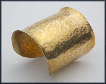 GOLDEN CLEOPATRA - Handforged Wide Hammered Bronze Cuff Bracelet