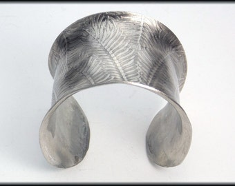 FERN FRONDS - Fern Fronds on Handforged Wide Pewter Cuff Bracelet