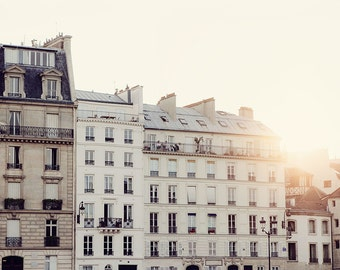 Morning Sunrise, Paris Photography, Pale Neutrals, Architecture, French Home Decor, Pastel Beige Cream White - The Sun Also Rises