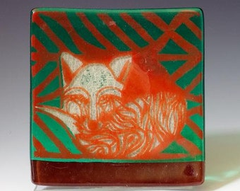 SALE Foxes Fused Glass Catch-all Dish