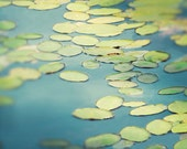 Lilypads, Nature Photography, Fine Art Photo, Landscape Photography, Wall Art, Teal, Lime Green, Chartreuse