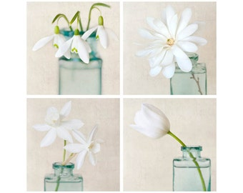 White Flower Art, Flower Photography, Botanical Print Set, Floral Art, Wall Art, White Flower Photo Set, Wall Decor, Set of 4 Flower Prints