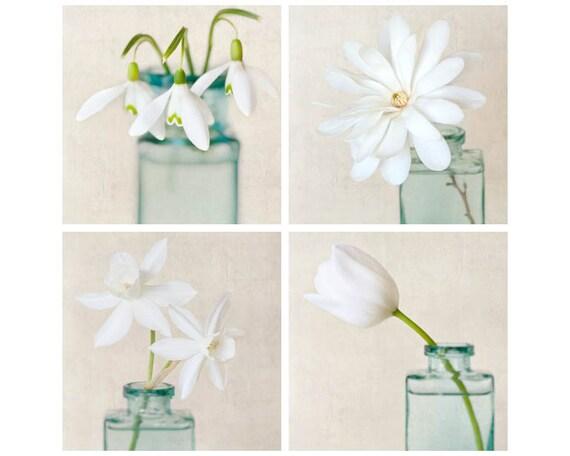 White Flower Art, Flower Photography, Botanical Print Set, Floral Art, Wall Art, White Flower Photo Set, Wall Decor, Set of 4 Flower Prints