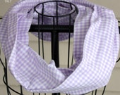 Lilac & White Gingham Flannel Infinity Scarf