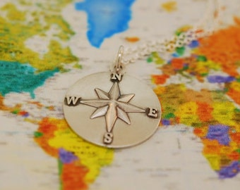 Not all who Wander, Compass Star Necklace