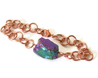 Chunky Copper Chain Bracelet Mystic Titanium Quartz Raw Nugget