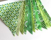 Green St Patricks Bunting party decoration. Fabric sewn flag Banner. Photo prop. 12 Pennant flags