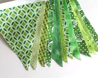 Party banner. Custom party decor. Photo prop. 12 Pennant flags. Green. Birthday banner. St Patricks Bunting. High chair banner. play room
