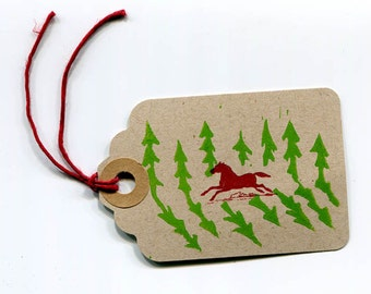 gift tag letterpress galloping horse