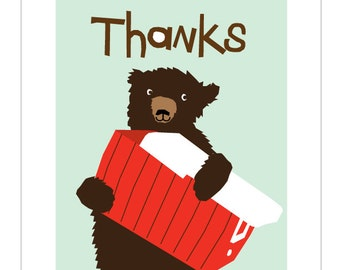 Thanks Notecards with black bear and red cooler greeting cards