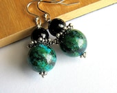 Black, Green Earrings, Onyx and Chrysocolla Gemstone Earrings, Sterling Silver