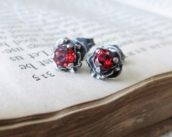 Flower Post Earrings Sterling Silver with 4mm Garnet Gemstone stud