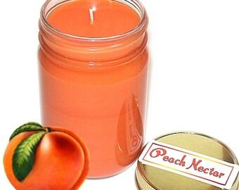 Peach Nectar Scent Mason Jar Candle 12 Oz Handmade