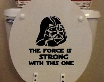 "Star Wars Toilet Seat - Vinyl Darth Vader ""The Force Is Strong With This One"" toilet seat - VINYL ONLY"