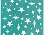 "Stencil Stencils Pattern Template ""Stars"" 6 inch/15 cm, reusable, adhesive, flexible, for polymer clay, fabric, wood, glass, card making"