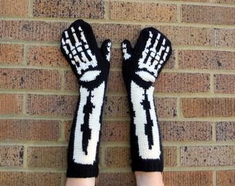 Skeleton Mittens - Knitting Pattern - PDF format Digital Download