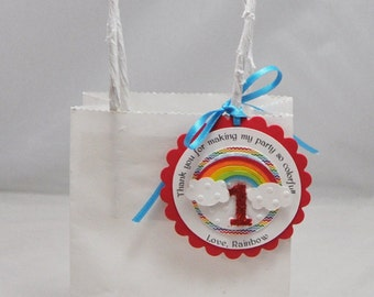 Rainbow Favor Tags- Set of 12- 1st Birthday Girl