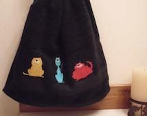 Cat Kitty Kitten Hand Towel: Cute Handmade Home Decor