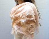 Silk Prosecco Shawl/Scarf silk merino ultra-light felt in feminine elegance - Mother of Bride