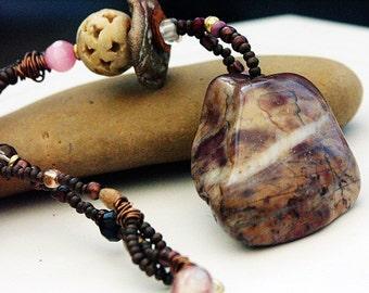 TRIBAL TALISMAN NECKLACE, Stone Necklace, Gratitude Stone Necklace, Rhodochrosite Gemstone Necklace, Wicca Deity Necklace