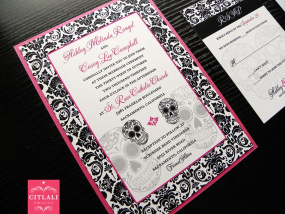 Sugar Skull Wedding Invitations: Day Of The Dead / Sugar Skull Hot Pink Black And White By