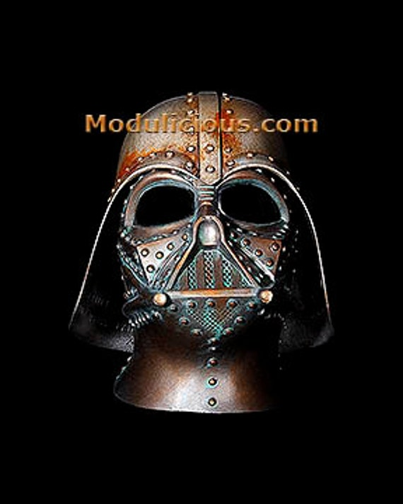 Star Wars Steampunk Darth Vader Helmet Paper  Art  Print Star Wars Rusted