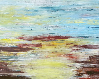 Seascape ORIGINAL Canvas Textured Boat Water Art Painting Modern Contemporary Blue Brown Yellow Masculine Canvas Wall Hanging