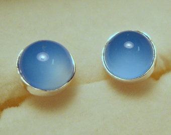 Earrings Blue Chalcedony 6mm  posts studs bezel set - eco friendly sterling silver from recycled sources - Cool Ethereal Purity