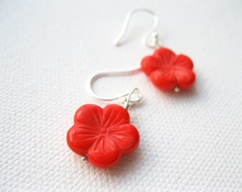 Coral Red Cherry Blossom Bead Stirling Silver Earrings UK Seller Stylish Contemporary Handmade Sakura Flower Valentines Day Jewellery