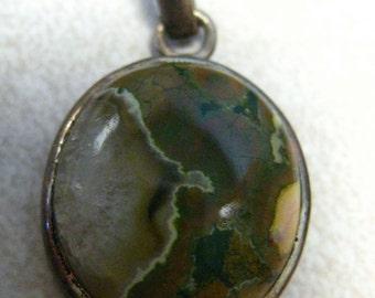 SALE  Sterling Silver Jasper Pendant