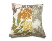 Decorative Pillow Cover Gold Olive Green Brown Gray Modern Floral Toss Accent Throw Cover 16 inch