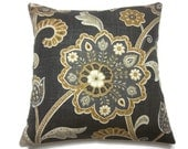 Decorative Pillow Cover Brown Charcoal Gray Yellow Gold White Modern Floral Same Fabric Front/Back Toss Throw Accent 18 x 18  inch x