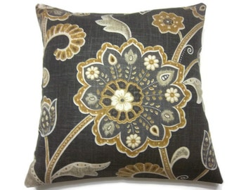 Decorative Pillow Cover Charcoal Gray Yellow Gold White Modern Floral Same Fabric Front/Back Toss Throw Accent 18 x 18  inch x
