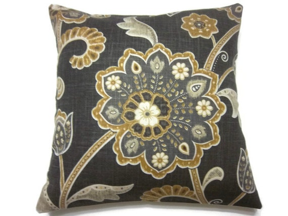Charcoal Grey Decorative Pillows : Decorative Pillow Cover Brown Charcoal Gray Yellow Gold White
