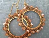 Small Crystal Seed Bead Hoop Earrings Beaded Jewelry Crystal Earrings