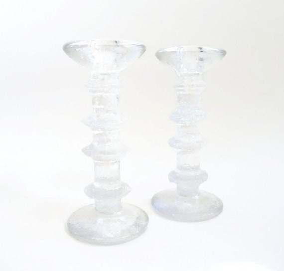 Iittala Festivo Glass Candle Sticks by Timo Sarpaneva  Scandinavian Modern 4 ring
