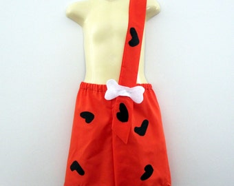 ORANGE Bam Bam costume - boy - shorts with strap - Halloween