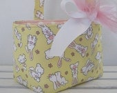Easter Fabric Candy Basket Storage Container Bin - Sweet Bunnies on Yellow - PERSONALIZED/ Name Tag Available - See Note in Listing