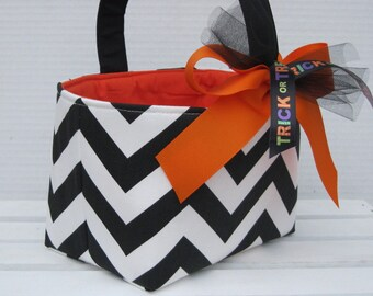 Halloween Trick Treat Candy Basket Bucket - Black/ White Chevron ZigZag Zig Zag Fabric - Personalized Name Tag Applique Available