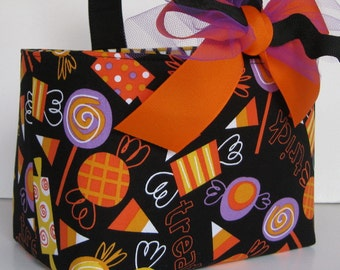Halloween Trick or Treat Bag Basket Bucket - Fun Candies on Black Fabric - Personalized Name Tag Applique Available
