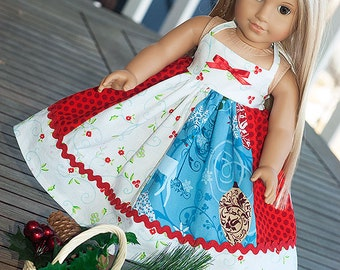 """American Doll dress Christmas dress white red blue Christmas apron Twirl dress set 18"""" doll dress American Girl holiday gift"""