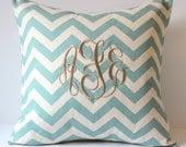 Chevron Monogram Pillow Cover 18x18. Decorative Throw Pillows. Home & Living. Nursery Decor. Dorm Decor. Childs Room Pillow. SewGracious.