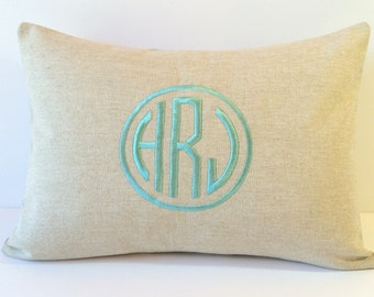 Circle Monogram Throw Pillow Cover. NATURAL LINEN 12 X 16. 2nd Anniversary Gift. Decorative Personalized Gift for Bride and Groom. Farmhouse