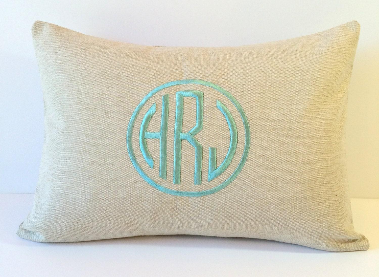 NATURAL LINEN Circle Monogram Pillow Cover. Decorative Pillow