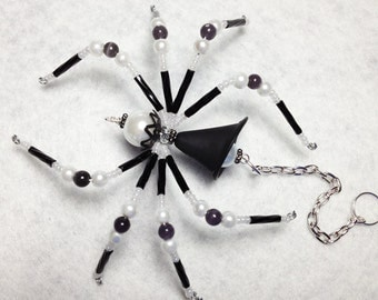 Ophelia - black and white glass beaded spider goth sun catcher - Halloween - Christmas ornament